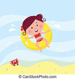 illustration, i, cute, smile pige, svømning, ind, den, hav, nær, strand