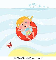 illustration, i, cute, smile pige, svømning, ind, den, hav, /, pulje