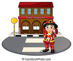 illustration, i, en, brandmand, holde, en, autoslukkeren, uden for, den, ild station, på, en, hvid baggrund