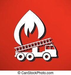 illustration, i, en, ild motor