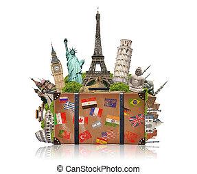 illustration, i, en, kuffert, fulde, i, berømte, monument