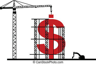 illustration, i, konstruktion, dollar