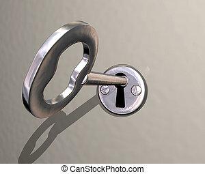 illustration, i, skinnende, sølv, nøgle, er, drej, ind, lås