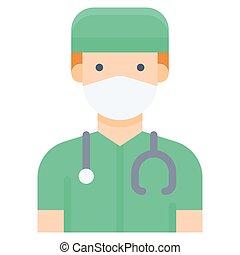 illustration, icône, personnel médical, plat, style, vecteur