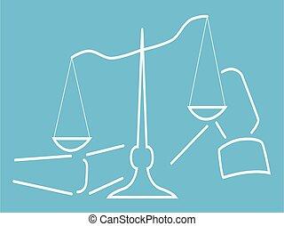 illustration, icône, vecteur, fond, isolé, jurisprudence, ...