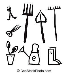 illustration., icônes, ensemble, vecteur, outils, jardin