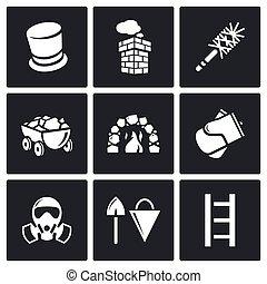 illustration., icônes, set., chauffage, charbon, vecteur, cheminée