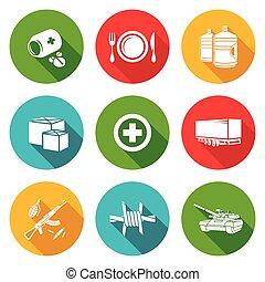 illustration., icônes, set., humanitaire, vecteur, soulagement