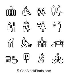 illustration., icônes, set., parc, vecteur, homme