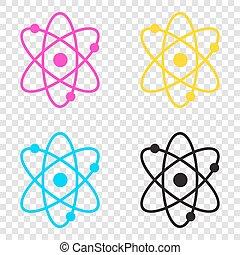 illustration., icônes, signe, cmyk, arrière-plan., cy, atome, transparent