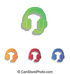 illustration., icônes, soutien, colorfull, applique, signe, set.