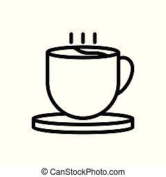 illustration., icon., arrière-plan., vecteur, café, contour, isolé, tasse blanche