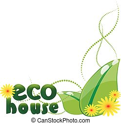 Illustration icon green house with leaf isolated on white background