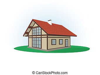 Illustration, icon of house on a li