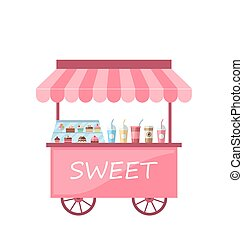 Icon of Kiosk with Cakes, Milkshakes