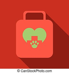 Illustration icon of medicine chest with long shadow in flat style - vector