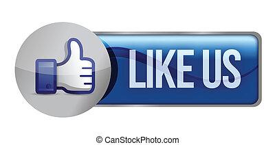 Illustration icon social networks, like us illustration...