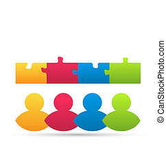 Illustration icon team of business people with jigsaw puzzle pieces as a solution to a problem - vector