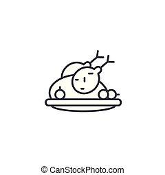 illustration., icona, cibo, concept., simbolo, segno, vettore, pollo, fritto, linea, lineare