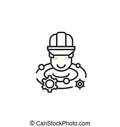 illustration., icona, segno, concept., simbolo, vettore, linea, ingegnere, brainstorm, lineare
