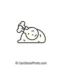 illustration., icona, segno, concept., simbolo, vettore, pollo, fritto, linea, lineare