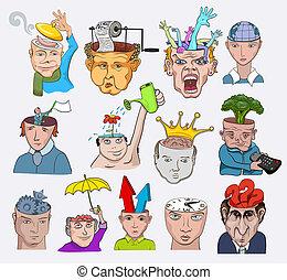 illustration., icone, persone, creativo, vettore, disegno, caratteri, concetti