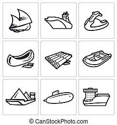 illustration., iconen, set., water, vector, vervoeren