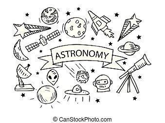 illustration., iconos, set., mano, astronomía, dibujo