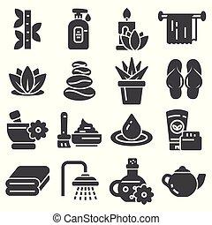 illustration., icons., ベクトル, 療法, 化粧品, エステ, マッサージ