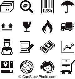 illustration., &, icons., livraison, vecteur, logistique