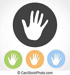 illustration., icons., main, vecteur, humain, impression