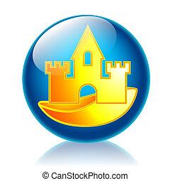 Sandcastle glossy icon