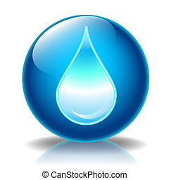 Illustration icon's summer for web, Water drop glossy icon