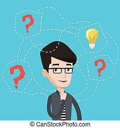 illustration., idée commerciale, vecteur, avoir, homme