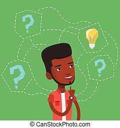illustration., idea affari, vettore, detenere, uomo