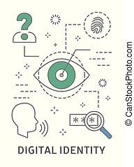 illustration., identiteit, digitale