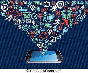 illustration., ikony, ruchomy, app, okrętowy, bryzg, skład