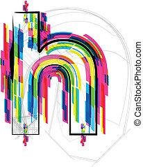 illustration., illustratie, vector, h., brief, lettertype