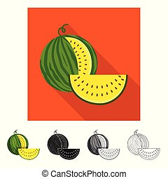 illustration., ilustracja, wektor, arbuz, żółty, zbiór, świeży, logo., pień