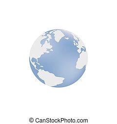 illustration, image, globe bleu, vecteur, atlantique, ocean.