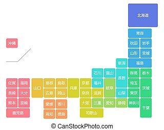 illustration, image, japon, icône, carte