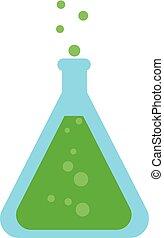 illustration., imagen del color, -, frasco, vector, química, o