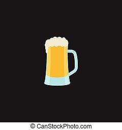 illustration., -, immagine, vettore, brutta copia, o, birra, birra, colorare, pescaggio