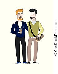 illustration in flat design style with a portrait of two men