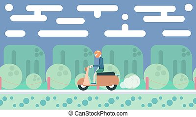 Illustration in flat design. Travel on scooter