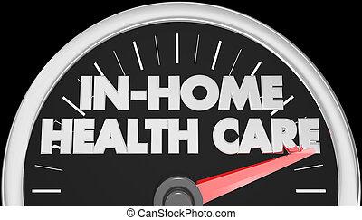 illustration, in-home, mots, santé, 3d, compteur vitesse, soin
