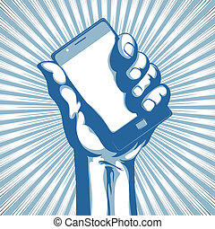 modern cell phone - illustration in retro style of a hand ...