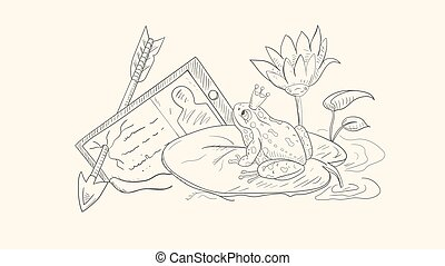 illustration in sketch style outline, a frog in a crown, sitting and looking at a tablet, on a leaf of a water Lily among Lotus flowers vector EPS10