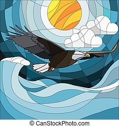 Illustration in stained glass style eagle on the background of sky, sun , clouds and water.