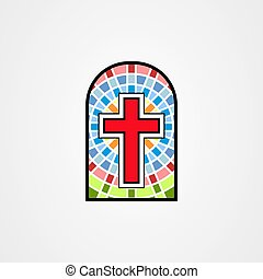 Illustration in stained glass style with a christian cross
